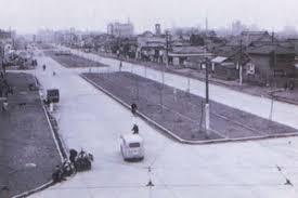 仙台市青葉区の定禅寺通り 昭和33年、ケヤキの植樹直後